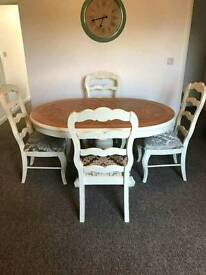 French oak table & 4 chairs