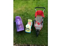 Dolls pushchair, rocker and ride on for sale