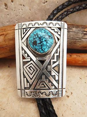 Navajo .925 Silver Spider Web Kingman Turquoise Bolo Tie By Peter Nelson