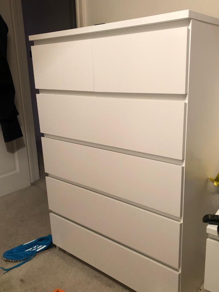 large chest of drawers ikea malm white in dunstable