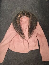 Stunning baby pink leather jacket