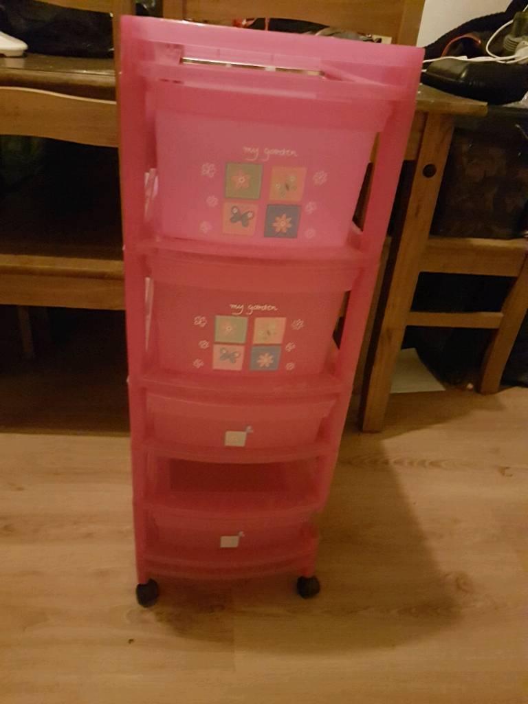 Girls plastic storage draws