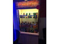 Shop display fridge drinks cakes chocolate