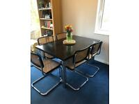 1970s Marcel Breuer Cesca Style Dining Table and Chairs By Habitat, Mid Century.