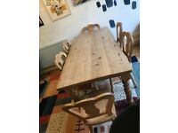 Old pine wood dining table