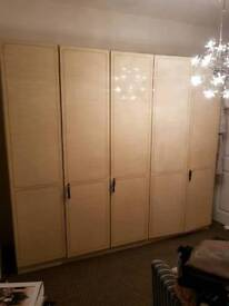 Mint 2 x Gloss Maple one piece wardrobe unit