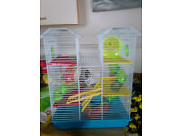 Large hamster cage with lots of tubes etc