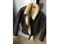 Heavy weight brown leather flying jacket size 14