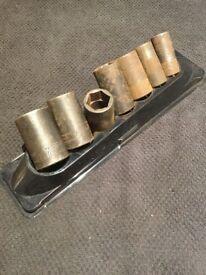 Snap on semi deep 1/2 impact sockets 27mm 24mm 24mm 22mm 21mm 18mm 17mm