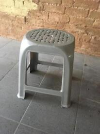 Small silver grey plastic kitchen bathroom shower stool chair NEW