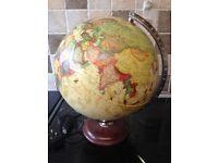 World globe lamp, 40 cm highx32 cm