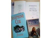 3 BOOKS, SIGNED COPY Much love, Josephine Cox.Tomorrow the World and Jinnie. Hard backed books