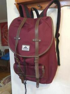 NEW STEVE MADDEN BACKPACK  Burgundy Heavy Canvas and leather Burgundy Knapsack School Bag Laptop Tote Lined
