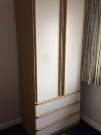 Hygena Tall Double Wardrobe - 3 Drawers with hanging space and mirror.