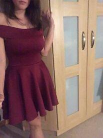 size 8 shoulder red dress BooHoo