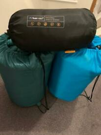 2 sleeping bags and a Trekmates pillow
