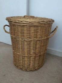 Vintage wicker basket laundry recycling storage