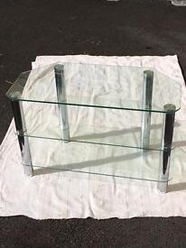 Glass and chrome tables/units x3