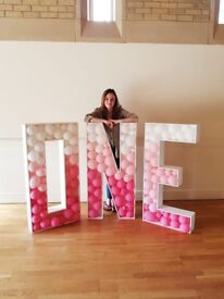 Wedding and party decor for hire - 4ft balloon filled 'ONE' & 'LOVE' letters, donut & flower wall