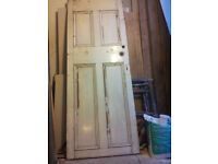 """antique pine panelled door, 29. 1/2 """" x 77 .1/2 """" x 1 .1/4"""""""