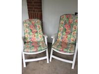 WHITE HIGH BACK GARDEN CHAIRS WITH CUSHIONS