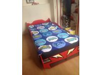 Lightning McQueen Cars Bed with Mattress, 6ft 8 inches, Like New, Barely used