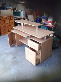 Three tier two drawer computer desk