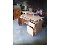 Three tier two drawer computer desk