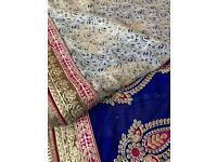 Pink, cream and royal blue saree
