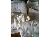 Baby cot bedding and curtains