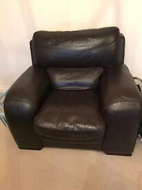 Single brown leather chair.