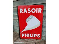 Early Double Sided Flange Philips Enamel sign Plaque emaillee 65cm x 45cm