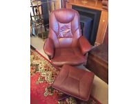 Brown Leather Swivel Chair with matching footstool