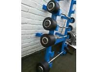 Full commercial Hammer Strength barbell / EZ bars with rack