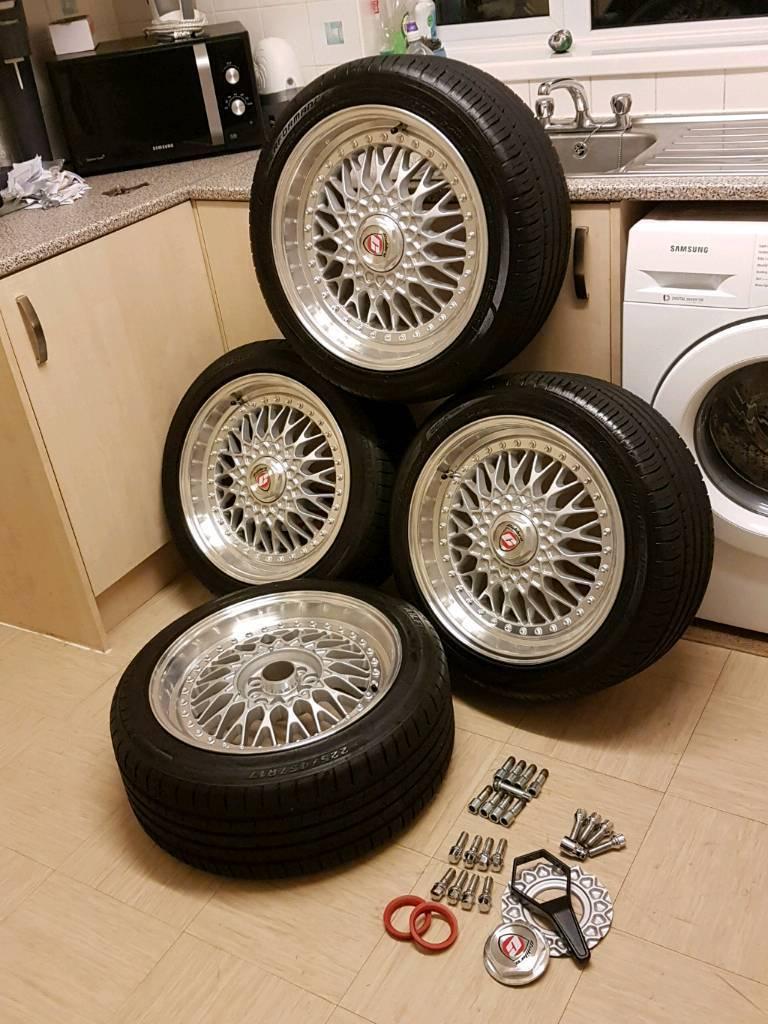 "Calibre vintage 17"" polished alloy wheels 225/45/r17"