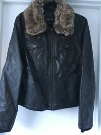 Ladies Faux Leather Brown Jacket Size XL/16