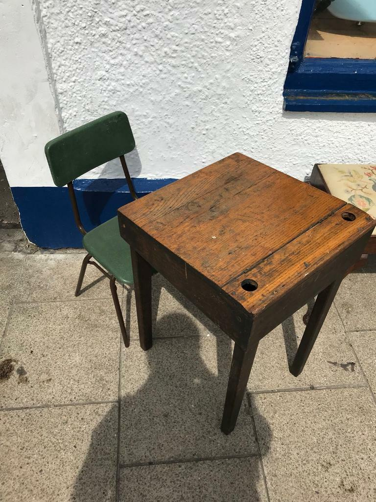 Old Fashioned School Desk And Chair