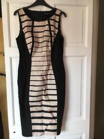 Black/beige shift dress