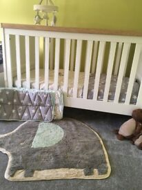 Little star cot bed set, including musical monitor and rug