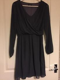 Size 10, charcoal chiffon dress.