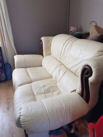 2x 2Seater Ivory leather sofas with matching footstool