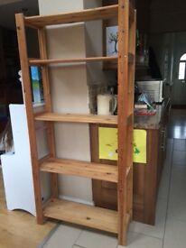 Wooden pine shelving unit