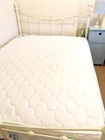 Brand New Double Ivory Metal Bed Frame and Mattress