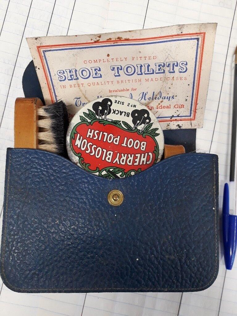 Vintage Shoe shining Kit. Polish brushes leather case