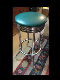 Retro - Diner Style Stainless Steel Bar Stool
