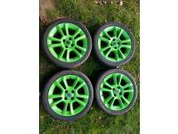 "Vauxhall Corsa D 16"" Alloy wheels & tyres in lime gree"