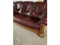 (BARGIN) 3 PIECE LEATHER SOFA SET WITH FOOTSTOOL