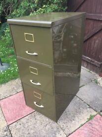 Vintage Green 3 Drawer Filing Cabinet
