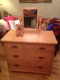 Antique waxed pine dressing table