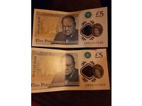 2 x new £5 notes early run consecurive numbers from AB 02 run